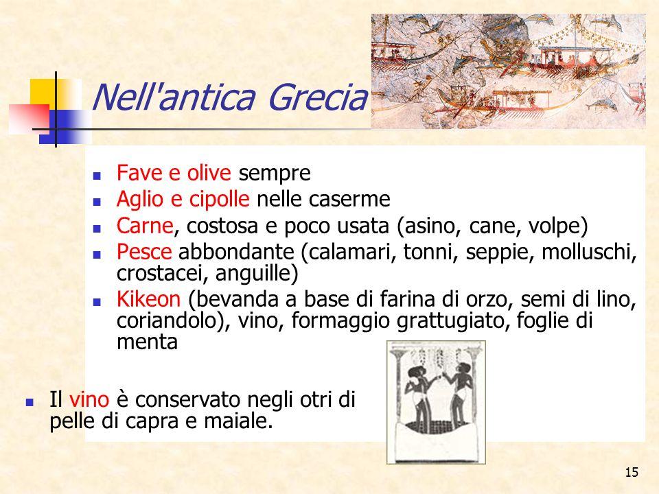 Nell antica Grecia Fave e olive sempre Aglio e cipolle nelle caserme