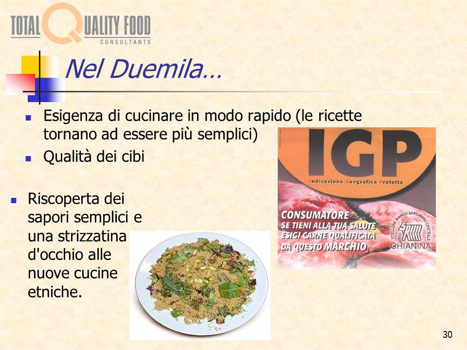 Nel Duemila… Esigenza di cucinare in modo rapido (le ricette tornano ad essere più semplici) Qualità dei cibi.