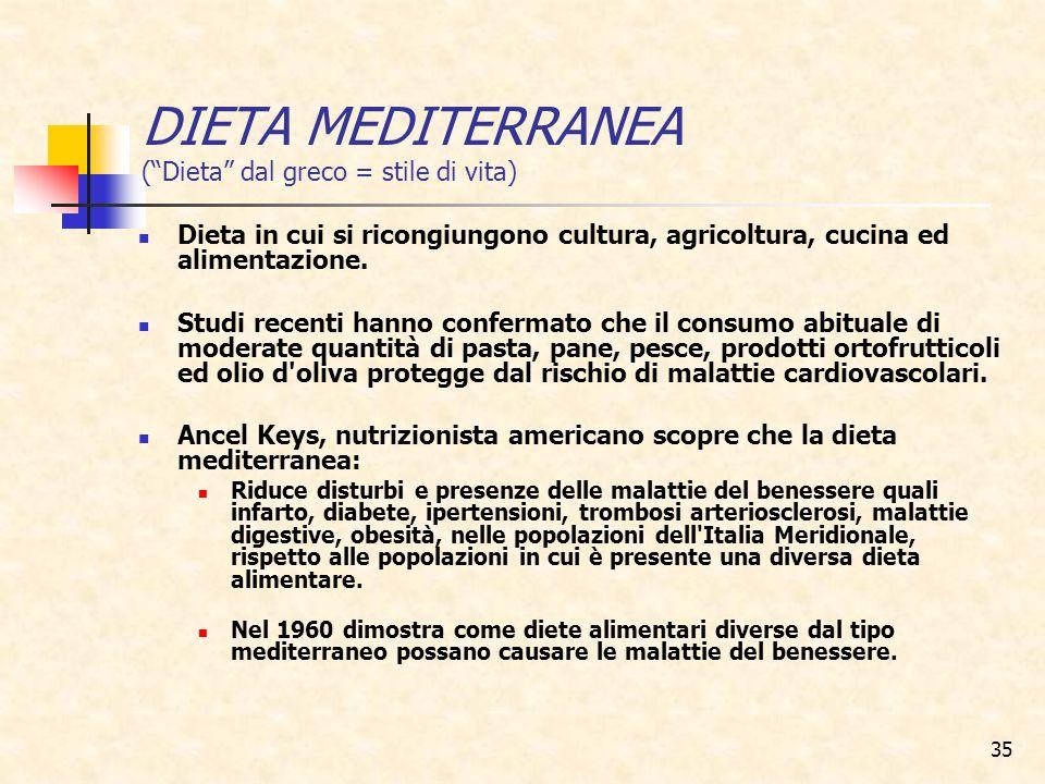 DIETA MEDITERRANEA ( Dieta dal greco = stile di vita)