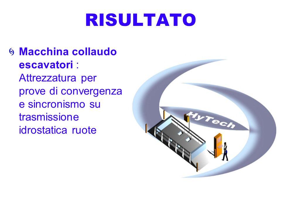 RISULTATO Macchina collaudo escavatori : Attrezzatura per prove di convergenza e sincronismo su trasmissione idrostatica ruote.