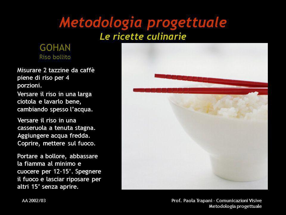 Metodologia progettuale Le ricette culinarie