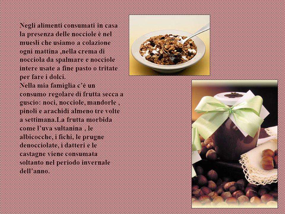 Negli alimenti consumati in casa la presenza delle nocciole è nel muesli che usiamo a colazione ogni mattina ,nella crema di nocciola da spalmare e nocciole intere usate a fine pasto o tritate per fare i dolci.