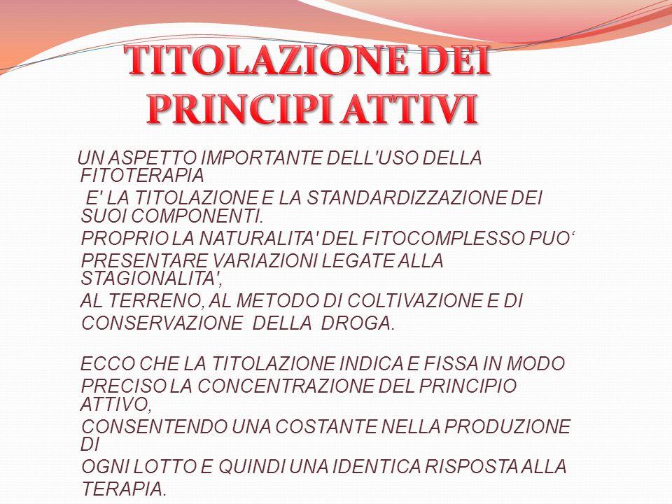 TITOLAZIONE DEI PRINCIPI ATTIVI
