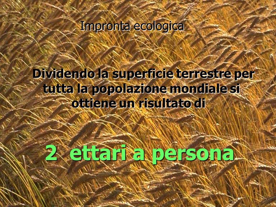 2 ettari a persona Impronta ecologica