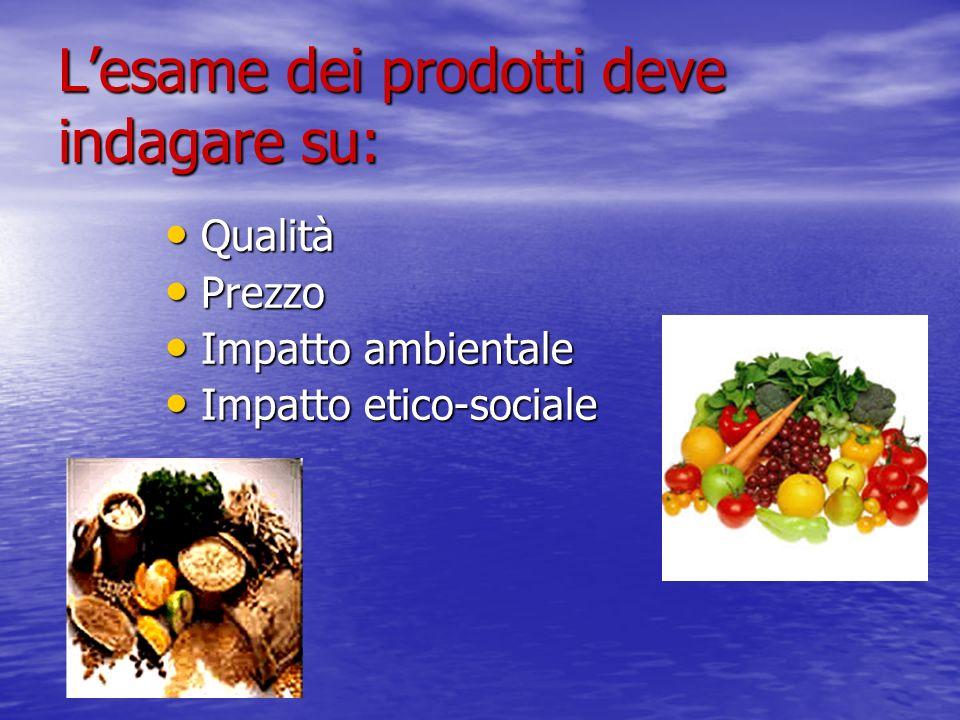 L'esame dei prodotti deve indagare su: