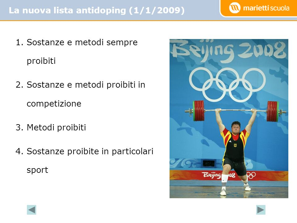 La nuova lista antidoping (1/1/2009)