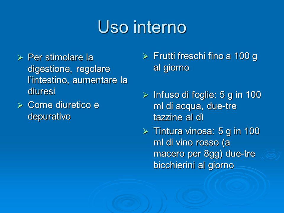 Uso interno Frutti freschi fino a 100 g al giorno