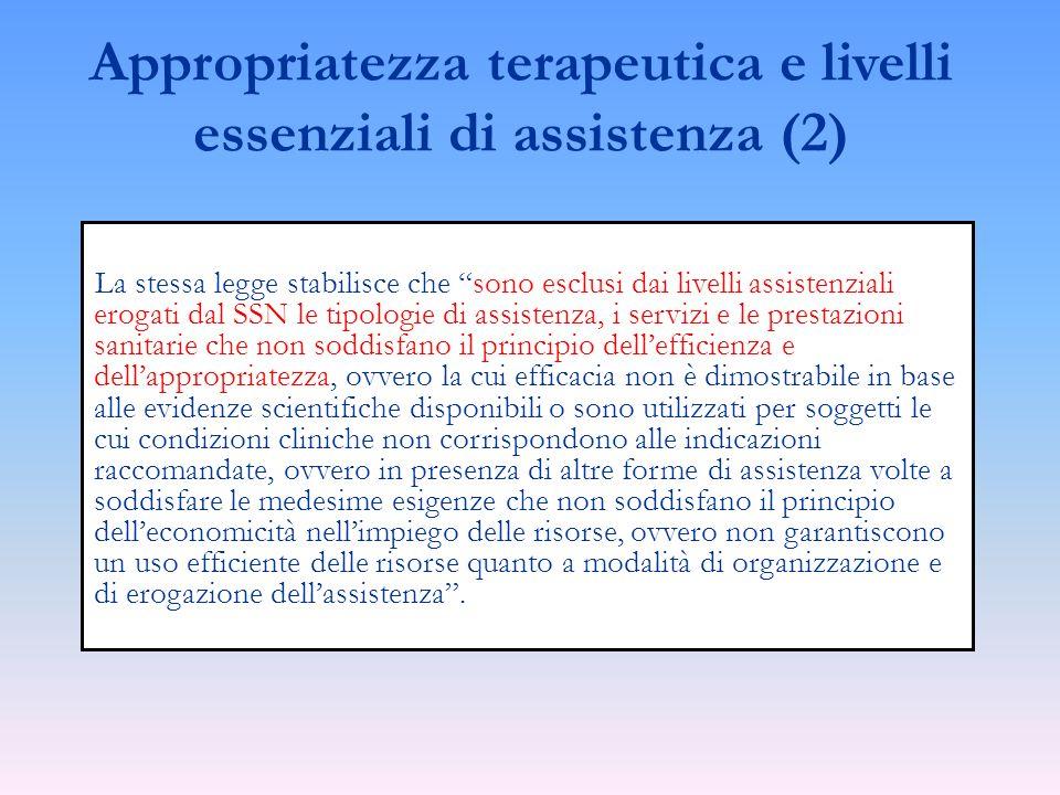 Appropriatezza terapeutica e livelli essenziali di assistenza (2)