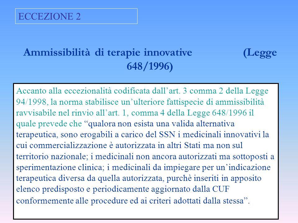 Ammissibilità di terapie innovative (Legge 648/1996)
