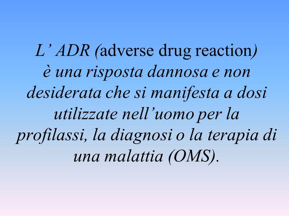 L' ADR (adverse drug reaction) è una risposta dannosa e non desiderata che si manifesta a dosi utilizzate nell'uomo per la profilassi, la diagnosi o la terapia di una malattia (OMS).