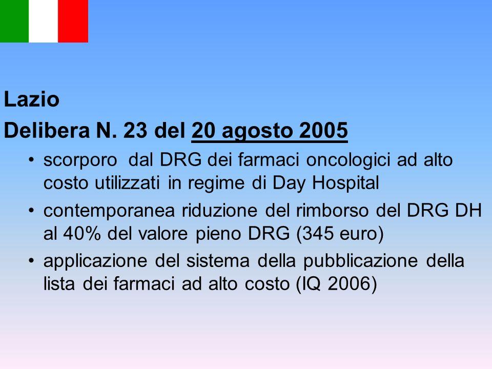 Lazio Delibera N. 23 del 20 agosto 2005