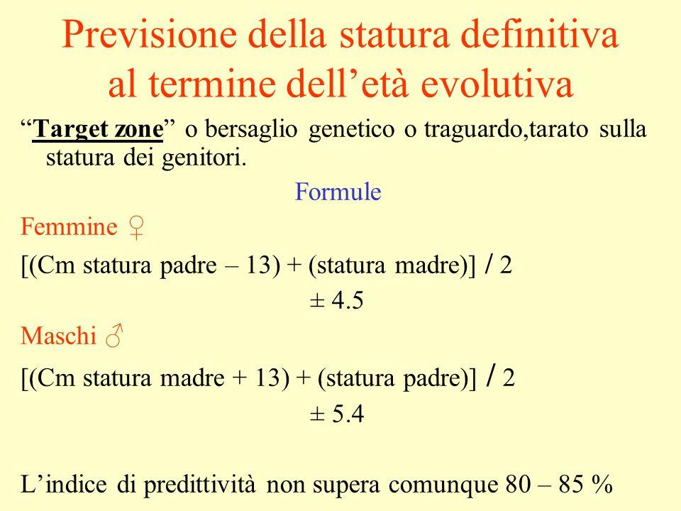 Previsione della statura definitiva al termine dell'età evolutiva