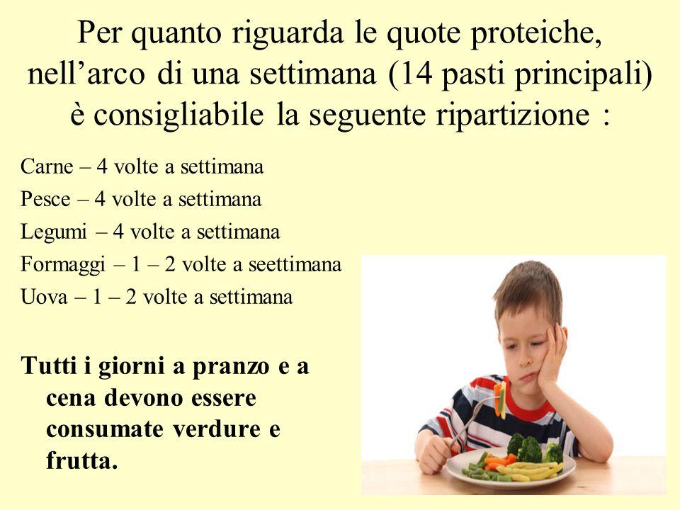 Per quanto riguarda le quote proteiche, nell'arco di una settimana (14 pasti principali) è consigliabile la seguente ripartizione :