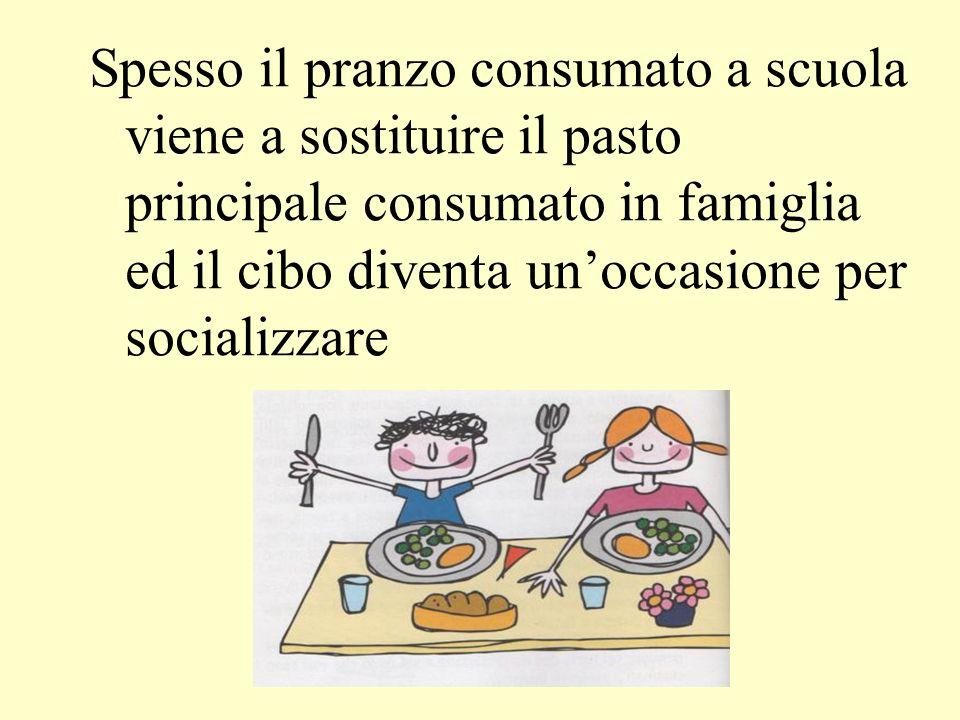 Spesso il pranzo consumato a scuola viene a sostituire il pasto principale consumato in famiglia ed il cibo diventa un'occasione per socializzare