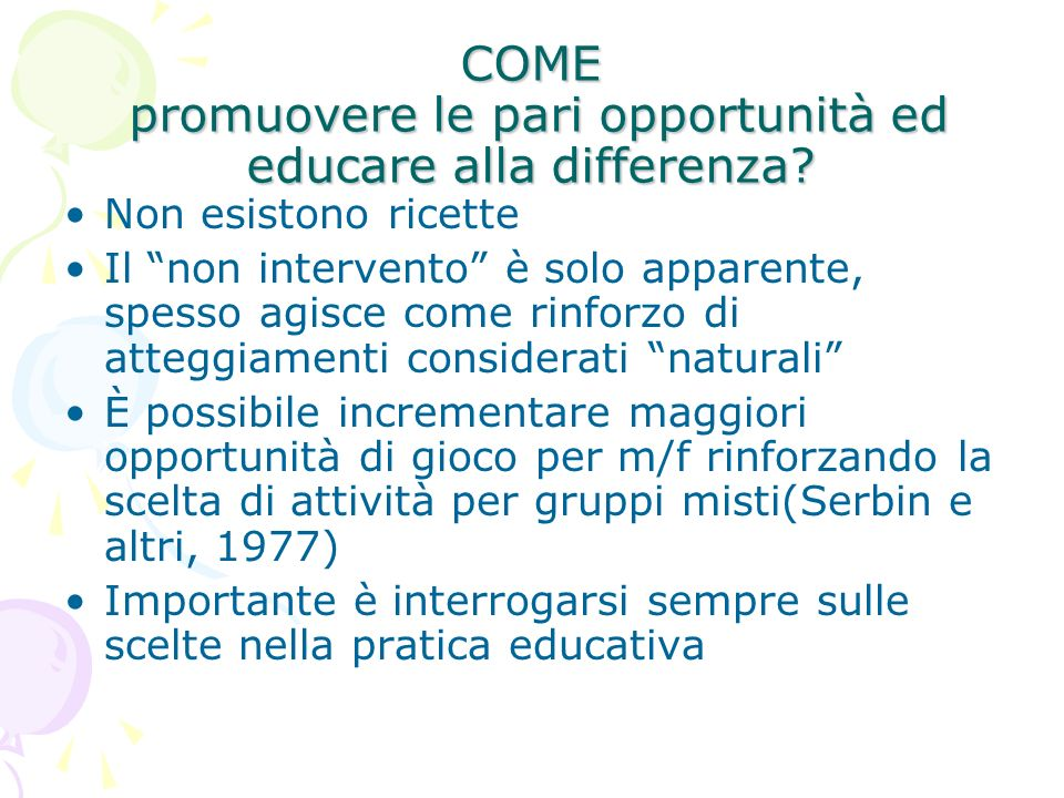 COME promuovere le pari opportunità ed educare alla differenza