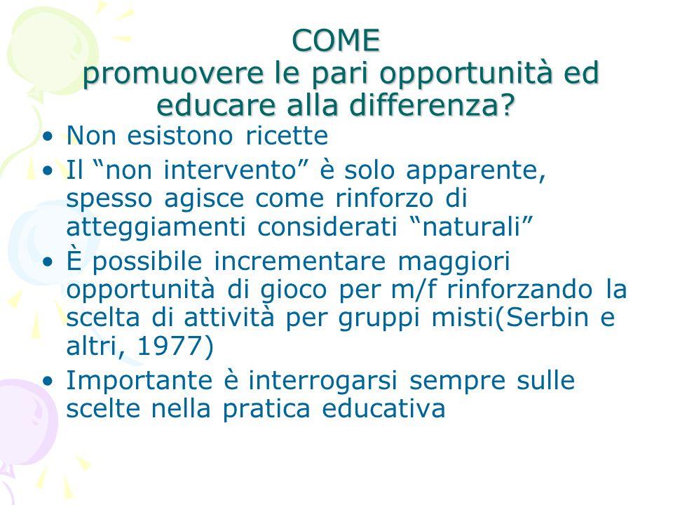 COME promuovere le pari opportunità ed educare alla differenza