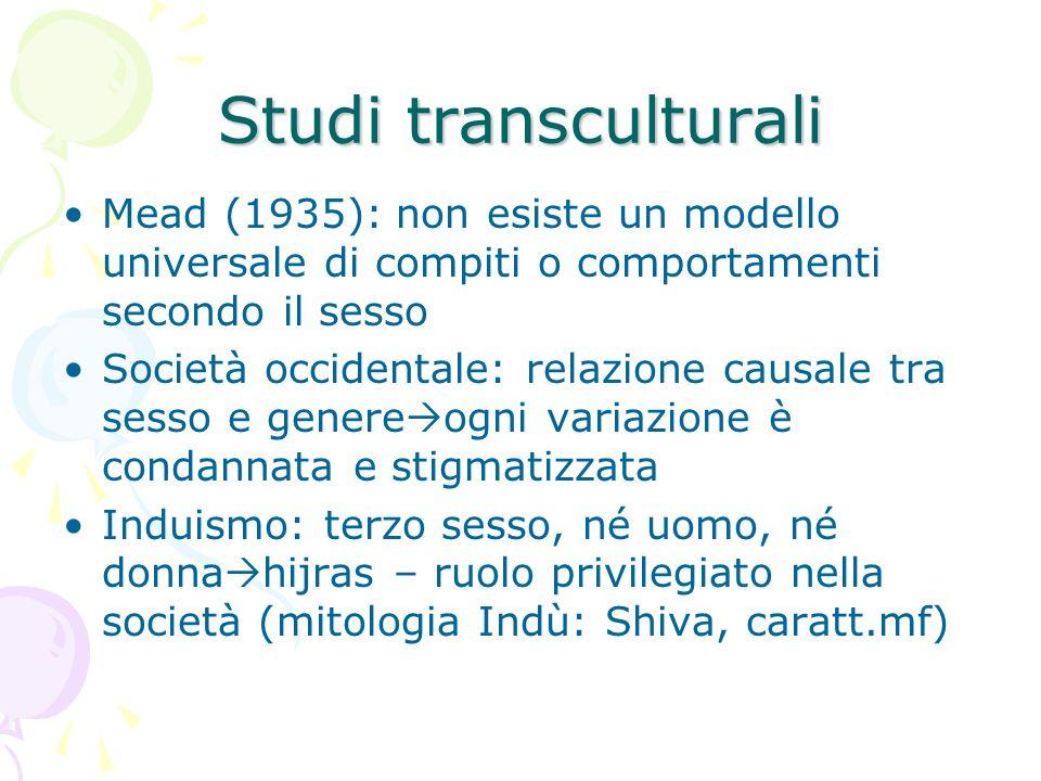 Studi transculturali Mead (1935): non esiste un modello universale di compiti o comportamenti secondo il sesso.