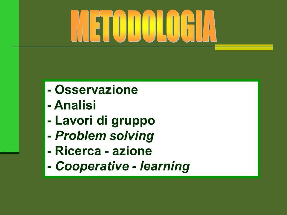 METODOLOGIA - Osservazione - Analisi - Lavori di gruppo