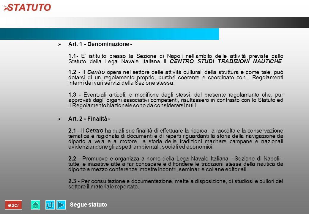 STATUTO Art. 1 - Denominazione -