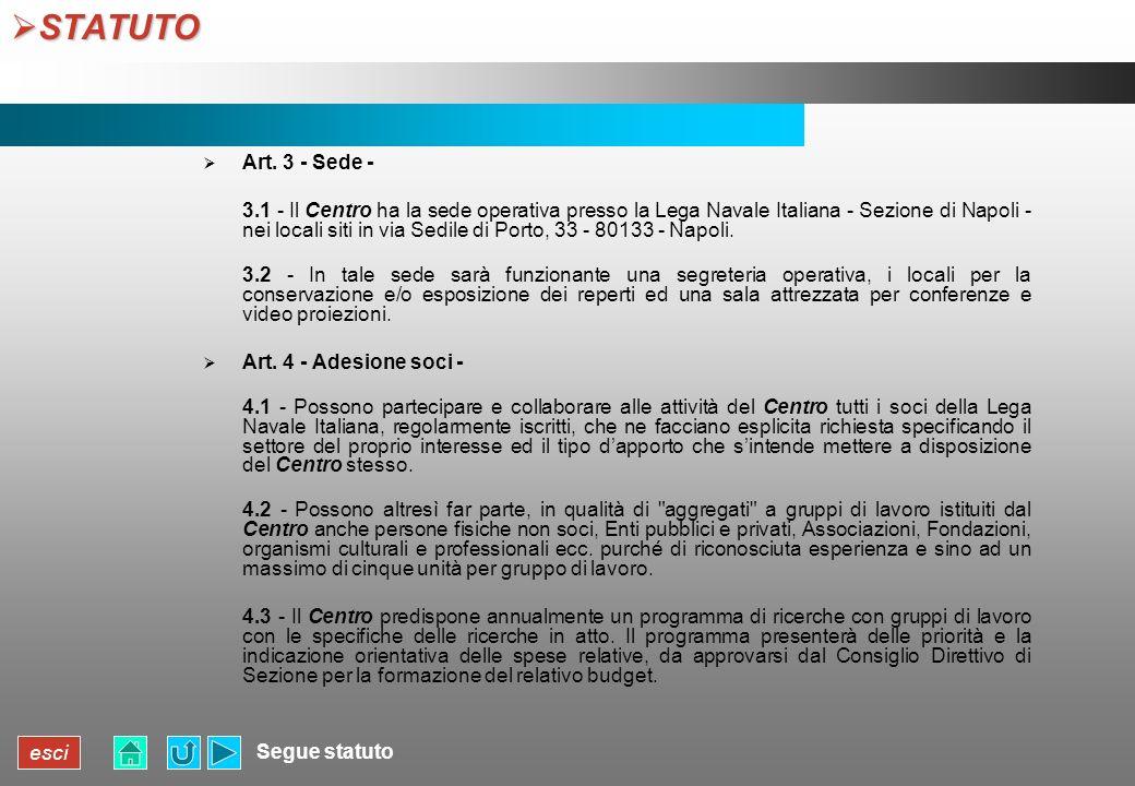 STATUTO Art. 3 - Sede -