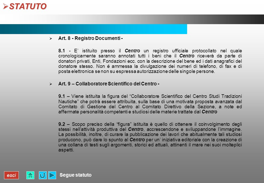 STATUTO Art. 8 - Registro Documenti -