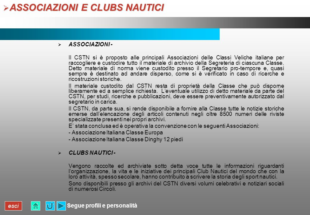 ASSOCIAZIONI E CLUBS NAUTICI
