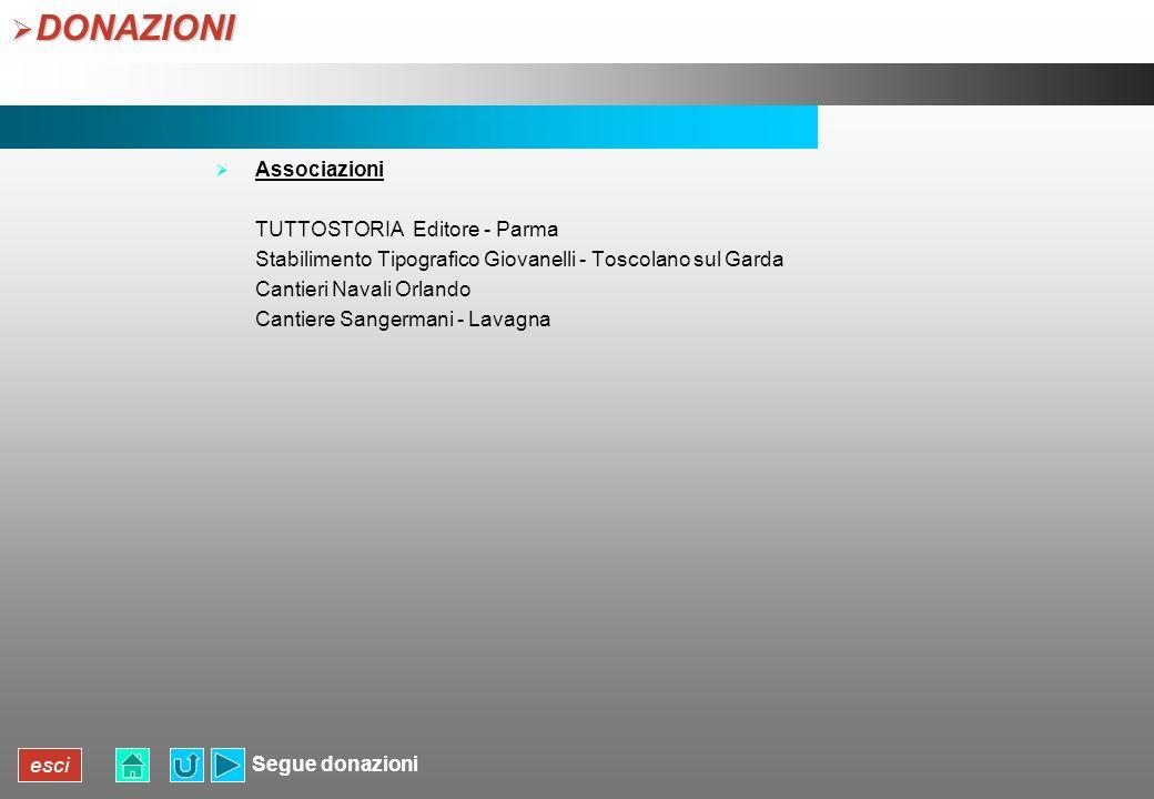 DONAZIONI Associazioni TUTTOSTORIA Editore - Parma