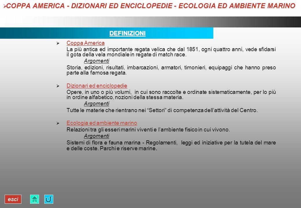 COPPA AMERICA - DIZIONARI ED ENCICLOPEDIE - ECOLOGIA ED AMBIENTE MARINO