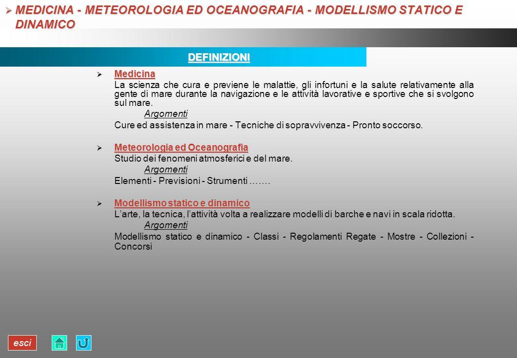 MEDICINA - METEOROLOGIA ED OCEANOGRAFIA - MODELLISMO STATICO E DINAMICO