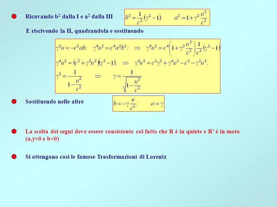 Ricavando b2 dalla I e a2 dalla III
