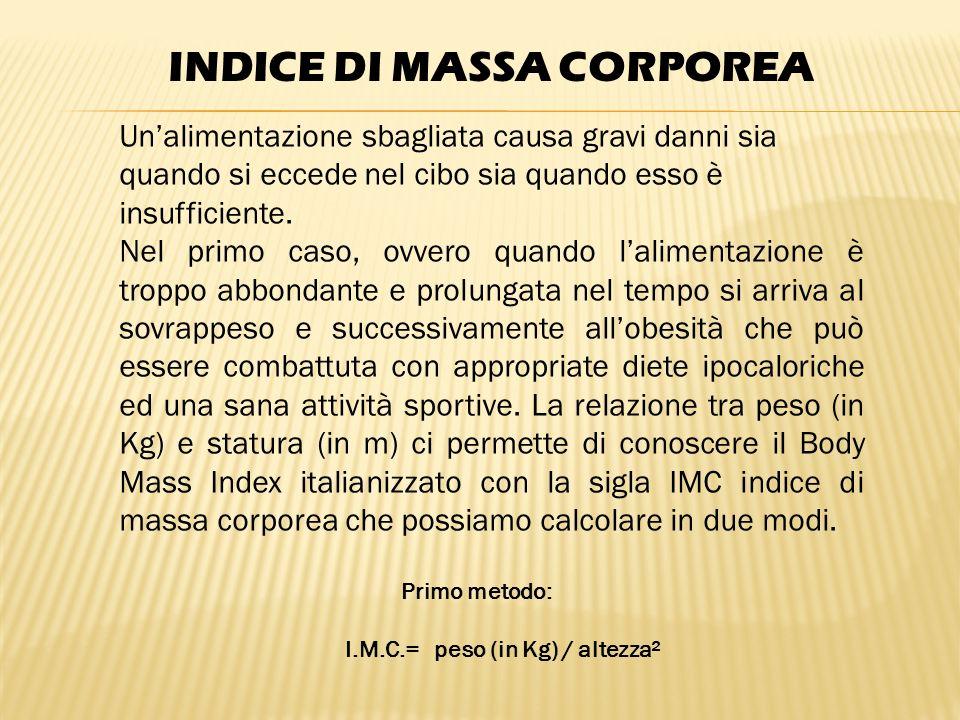 INDICE DI MASSA CORPOREA I.M.C.= peso (in Kg) / altezza²