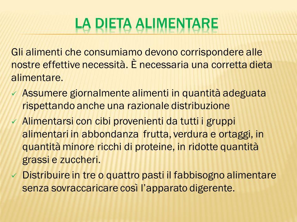 La dieta alimentare Gli alimenti che consumiamo devono corrispondere alle nostre effettive necessità. È necessaria una corretta dieta alimentare.