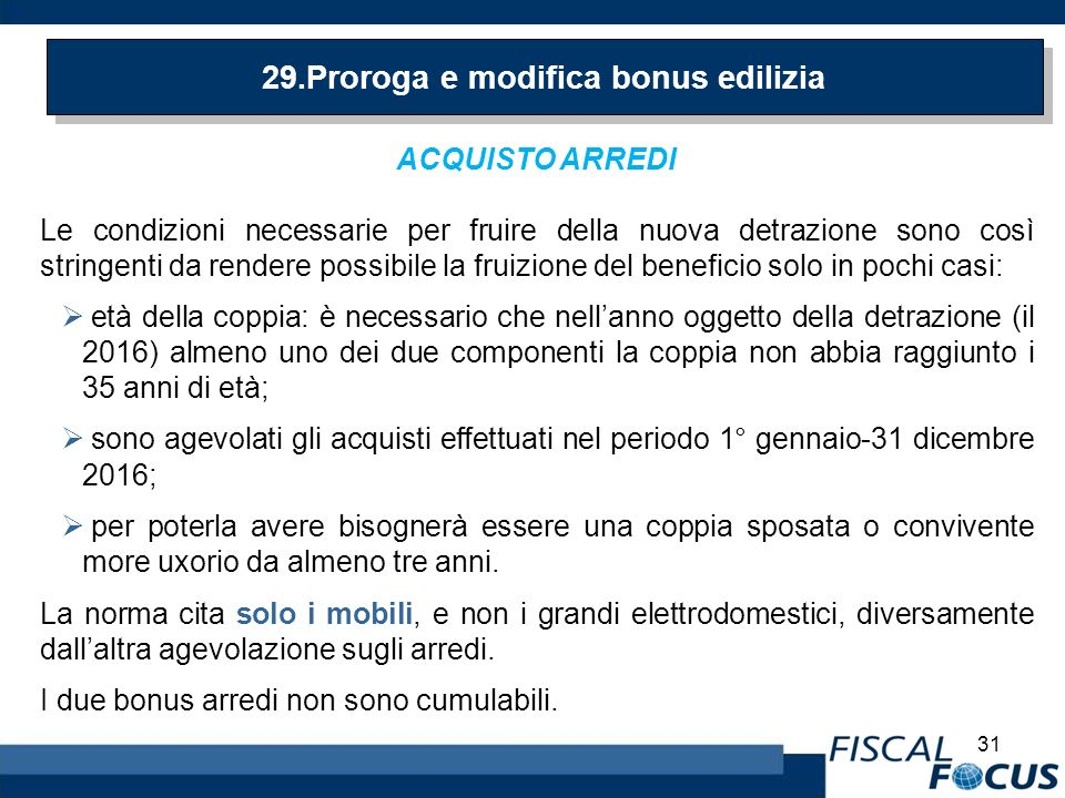 Legge di stabilita 2016 le novita ppt scaricare for Bonus arredi 2016
