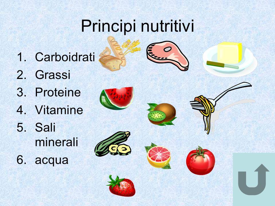 Principi nutritivi Carboidrati Grassi Proteine Vitamine Sali minerali