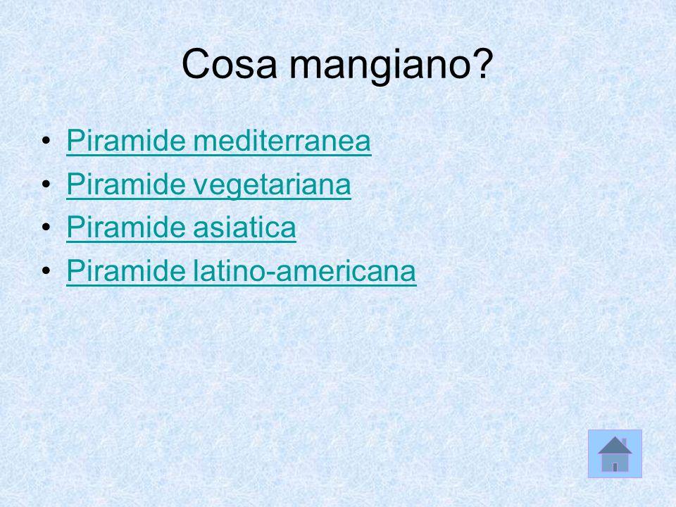 Cosa mangiano Piramide mediterranea Piramide vegetariana
