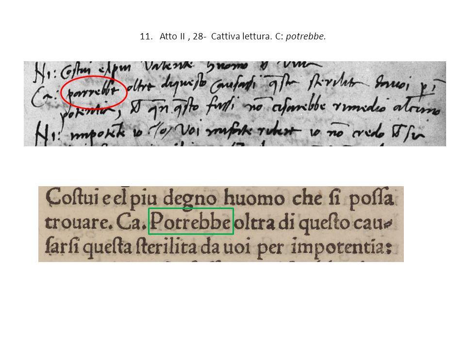 11. Atto II , 28- Cattiva lettura. C: potrebbe.