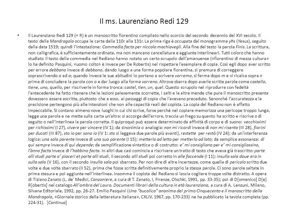 Il ms. Laurenziano Redi 129