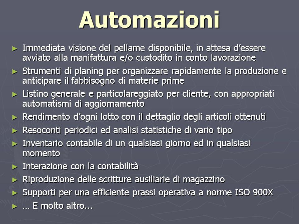 AutomazioniImmediata visione del pellame disponibile, in attesa d'essere avviato alla manifattura e/o custodito in conto lavorazione.