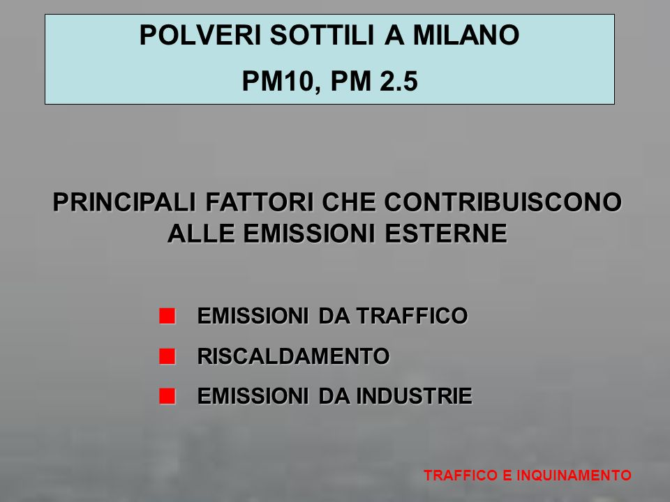 POLVERI SOTTILI A MILANO PM10, PM 2.5