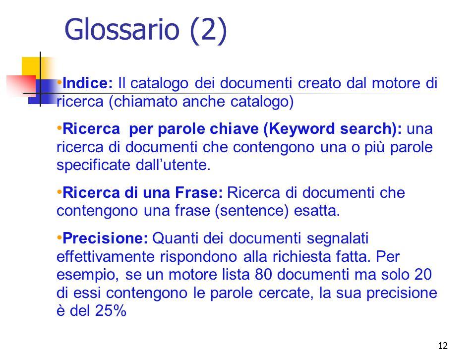 Glossario (2) Indice: Il catalogo dei documenti creato dal motore di ricerca (chiamato anche catalogo)