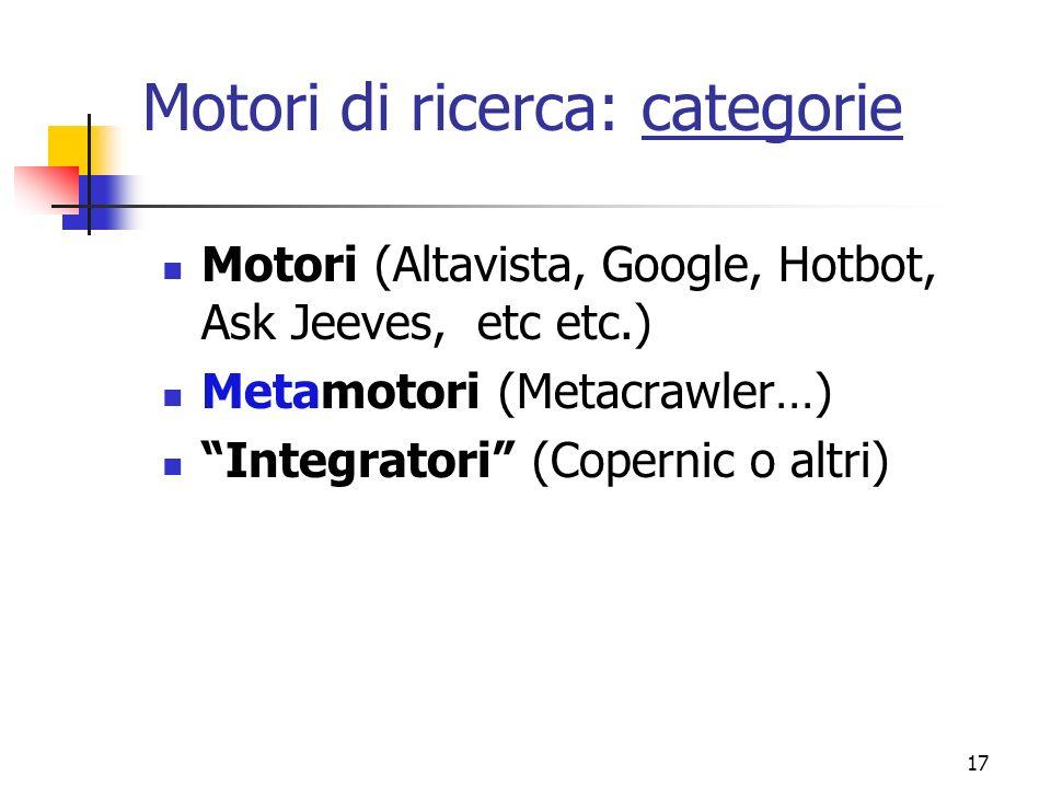 Motori di ricerca: categorie