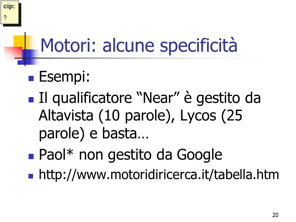Motori: alcune specificità