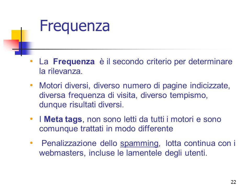 Frequenza La Frequenza è il secondo criterio per determinare la rilevanza.