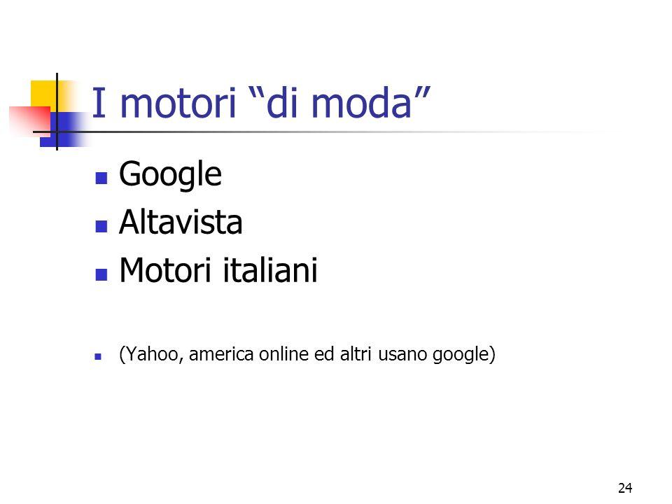 I motori di moda Google Altavista Motori italiani