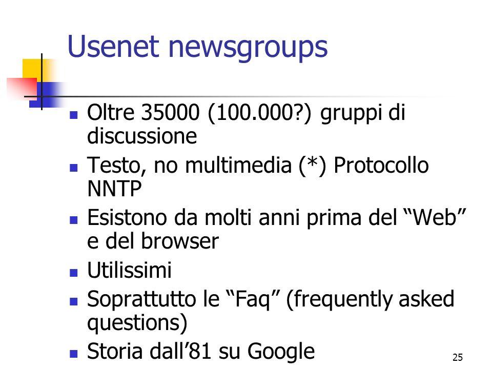 Usenet newsgroups Oltre 35000 (100.000 ) gruppi di discussione