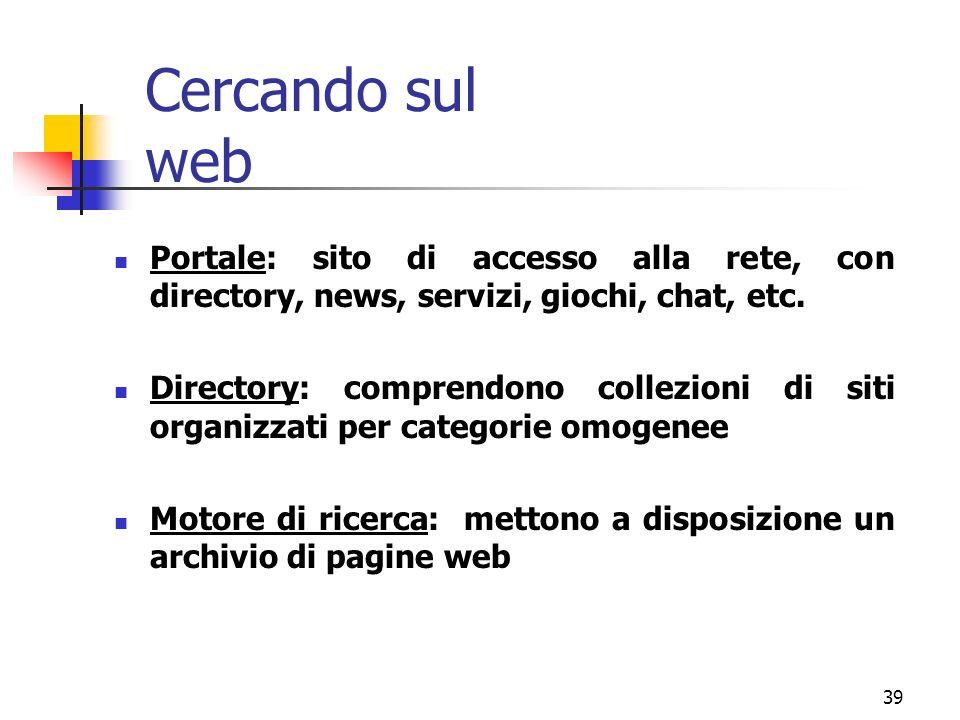 Cercando sul web Portale: sito di accesso alla rete, con directory, news, servizi, giochi, chat, etc.