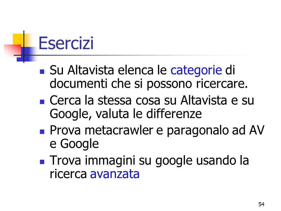 Esercizi Su Altavista elenca le categorie di documenti che si possono ricercare. Cerca la stessa cosa su Altavista e su Google, valuta le differenze.