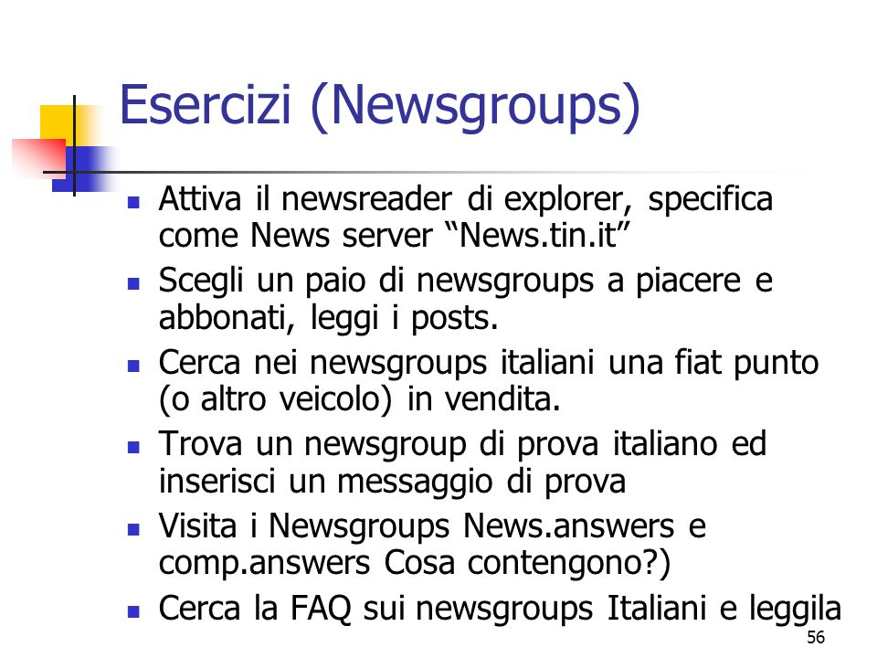 Esercizi (Newsgroups)