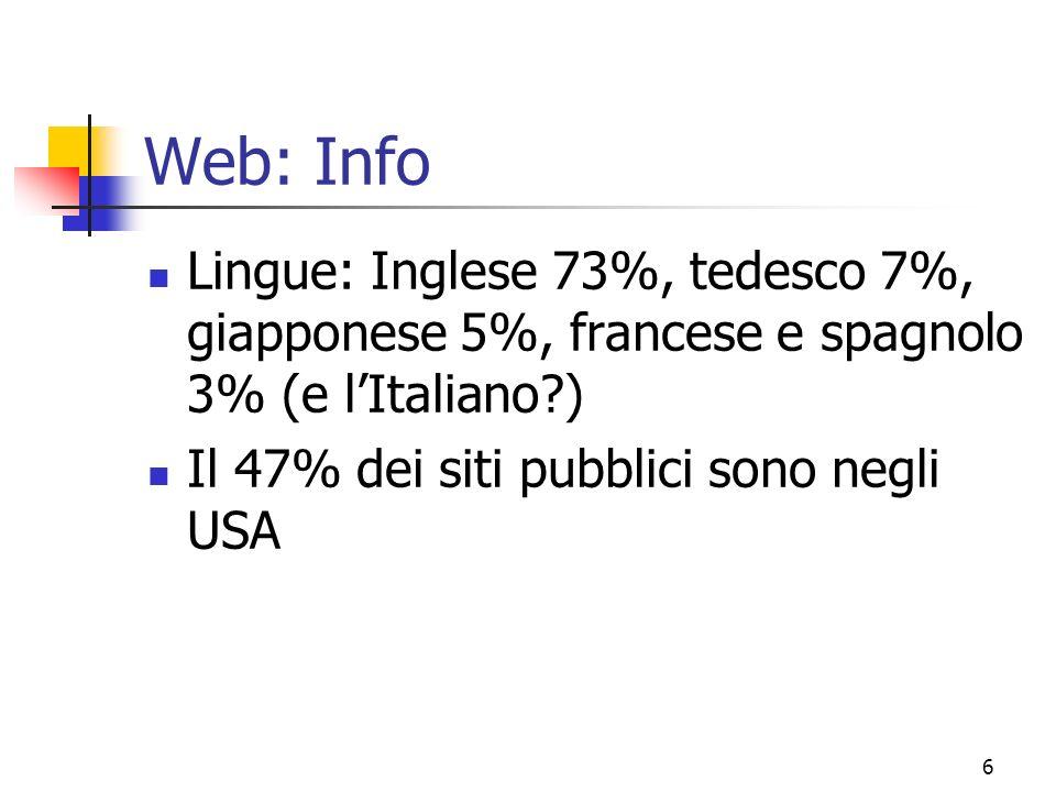Web: Info Lingue: Inglese 73%, tedesco 7%, giapponese 5%, francese e spagnolo 3% (e l'Italiano ) Il 47% dei siti pubblici sono negli USA.