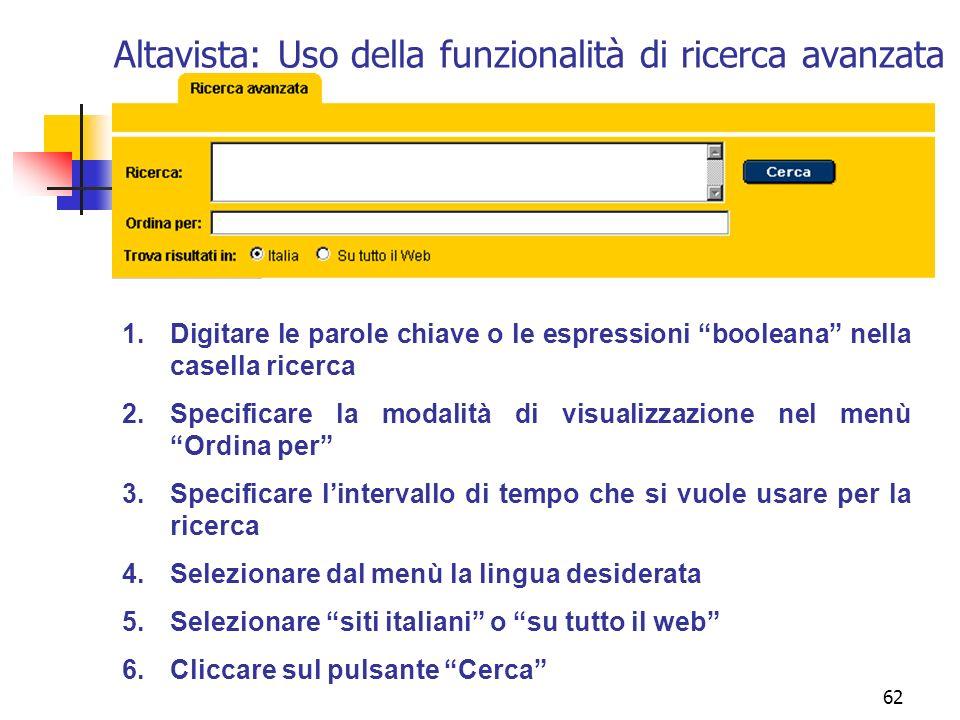 Altavista: Uso della funzionalità di ricerca avanzata